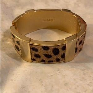 J Crew Wide Leopard Fur Bracelet